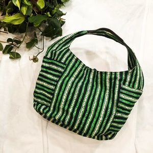 {Tory Burch} Green and White Striped Braeden Hobo